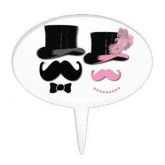 Mustache , top hat,bow tie and pearls cake topper