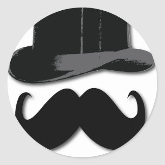 mustache, top hat, bow tie and pearls classic round sticker