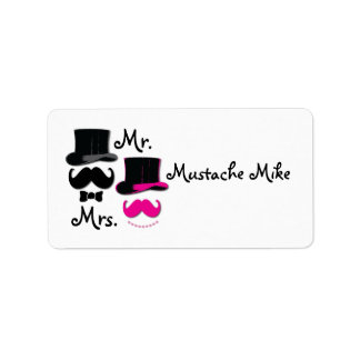 Mustache , top hat,bow tie and pearls label