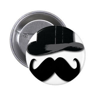 mustache, top hat, bow tie and pearls pinback button