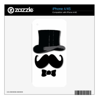 mustache, top hat, bow tie and pearls decal for the iPhone 4S