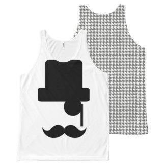 Mustache Top Hat Houndstooth Tank Top