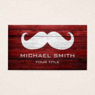 Mustache Vintage Wood Business Card