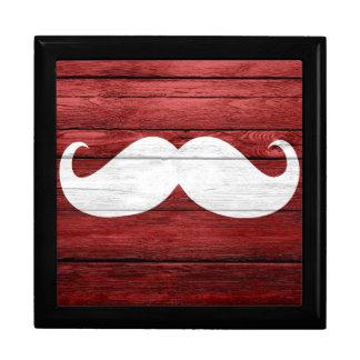 Mustache Vintage Wood Jewelry Box