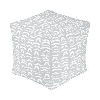 Mustache White and Gray Vintage Modern Pattern Cube Pouf