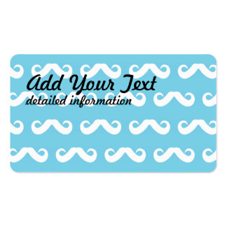 Mustache White Blue Double-Sided Standard Business Cards (Pack Of 100)