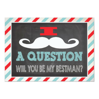 Mustache Will you be my Best man? 5x7 Paper Invitation Card
