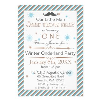mustache winter wonderland 1st birthday party personalized announcement