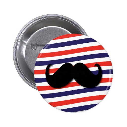 Mustache with red, white and blue stripes pinback buttons
