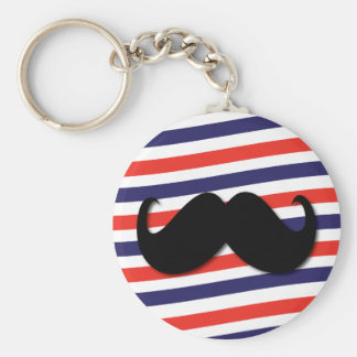 Mustache with red, white and blue stripes basic round button keychain