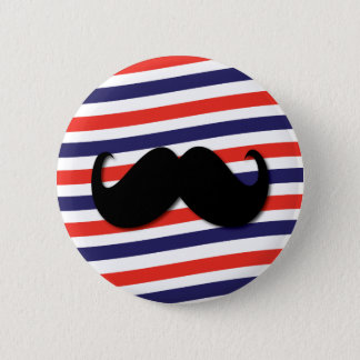 Mustache with red, white and blue stripes pinback button
