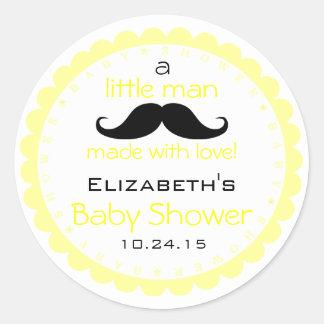 Mustache-Yellow Baby Shower Round Sticker