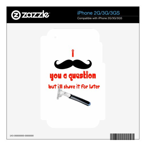 Mustache You a Question iPhone 3G Decal