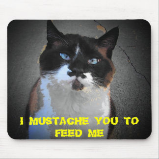 MUSTACHE YOU CAT IS HUNGRY MOUSE PAD