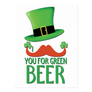 mustache you for green beer ginger mustache clover postcards
