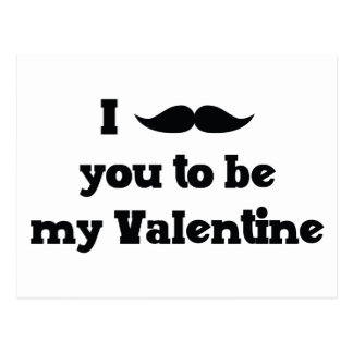 Mustache You to Be My Valentine Postcard