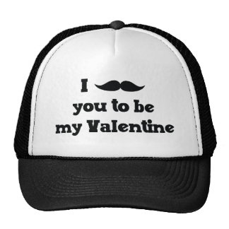 Mustache You to Be My Valentine Trucker Hats