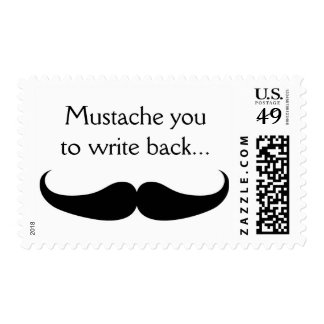 Mustache You to Write Back Funny Postage Stamp FUN