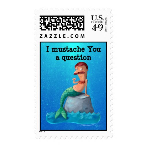 Mustached Merman Postage Stamps