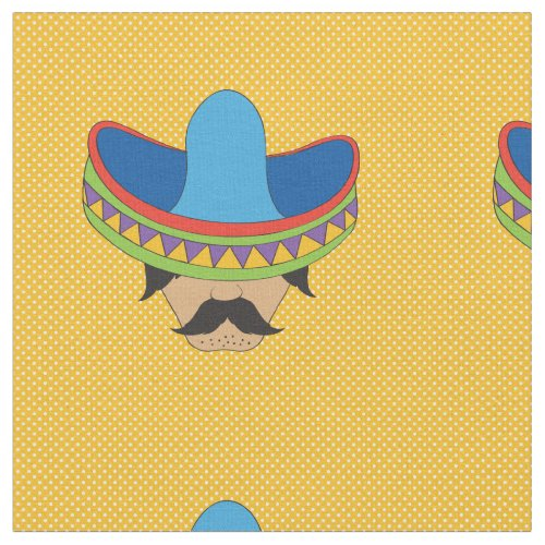 Mustached Mexican Bandito Fabric