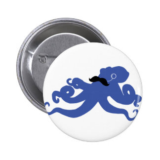 mustached octopus with a monocle button