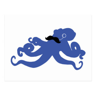 mustached octopus with a monocle postcard