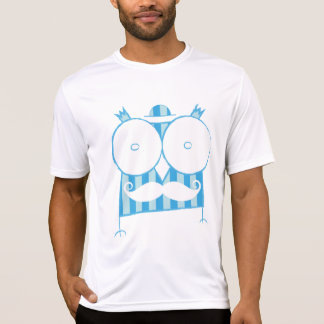 Mustached Owl T-Shirt with a Hat (blue & white)