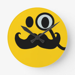 Medium Round Wall Clock with Mustache with Monocle Smiley design