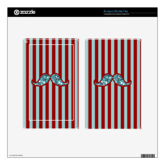 MUSTACHEFUNNY BLUE MUSTACHE GLITTER RED STRIPES SKIN FOR KINDLE FIRE