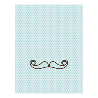 Mustaches blue polka dots postcard