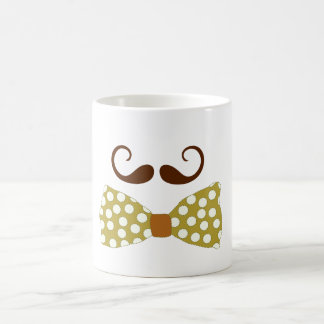 mustaches bow classic white coffee mug