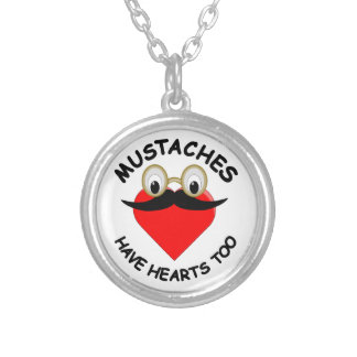Mustaches Have Hearts Too Round Pendant Necklace