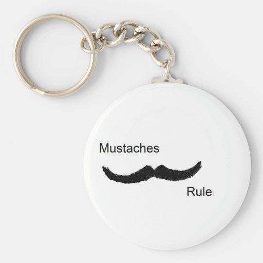 Mustaches Rule Basic Round Button Keychain