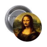 Mustachioed Mona Lisa Button