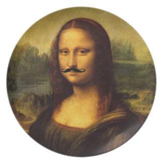 Mustachioed Mona Lisa Plates
