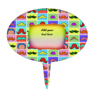 Mustahce pattern funny colorful cake topper