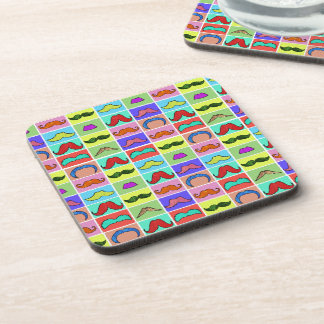 Mustahce pattern funny colorful drink coaster