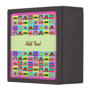 Mustahce pattern funny colorful jewelry box