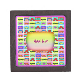 Mustahce pattern funny colorful keepsake box