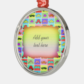 Mustahce pattern funny colorful round metal christmas ornament