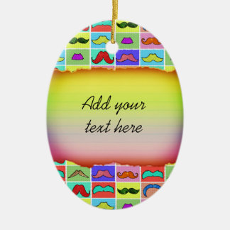 Mustahce pattern funny colorful Double-Sided oval ceramic christmas ornament