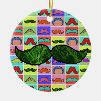 Mustahce pattern funny colorful Double-Sided ceramic round christmas ornament