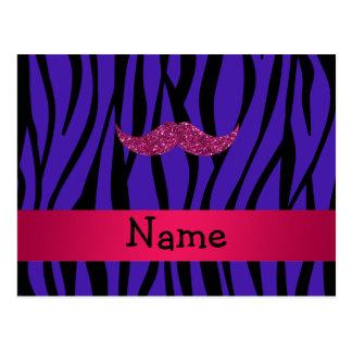 Mustahce rosado conocido personalizado del brillo tarjeta postal