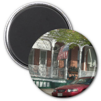 Mustang and American Flag in Hampden Magnet
