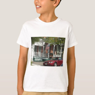 Mustang and American Flag in Hampden T-Shirt