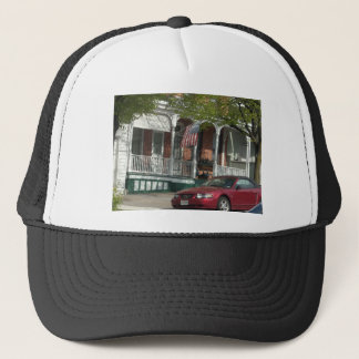 Mustang and American Flag in Hampden Trucker Hat