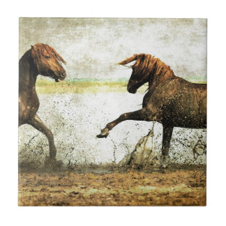 Mustang Battle Small Square Tile