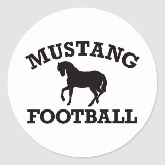 Mustang Football Classic Round Sticker