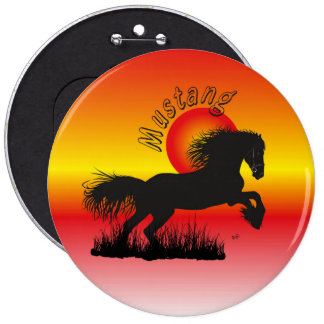 Mustang for horse lover button