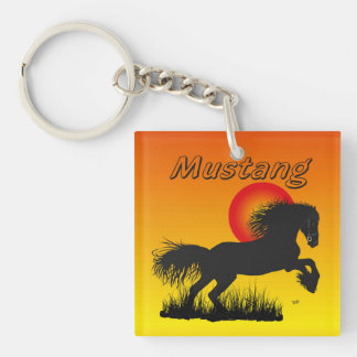 Mustang for horse lover key supporter square acrylic key chain